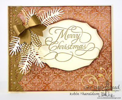 Our Daily Bread Designs Stamp: Flourished Merry Christmas, Our Daily Bread Designs Custom Dies: Elegant Ovals, Small Bow, Beautiful Borders, Lovely Leaves, Pinecones