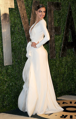 Irina Shayk wearing Stephane Rolland white gown when attending 2013 Vanity Fair Oscar party