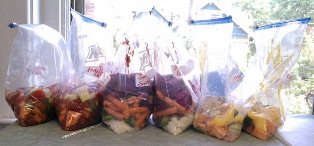 Prepared bags of freezer and crockpot dinners.