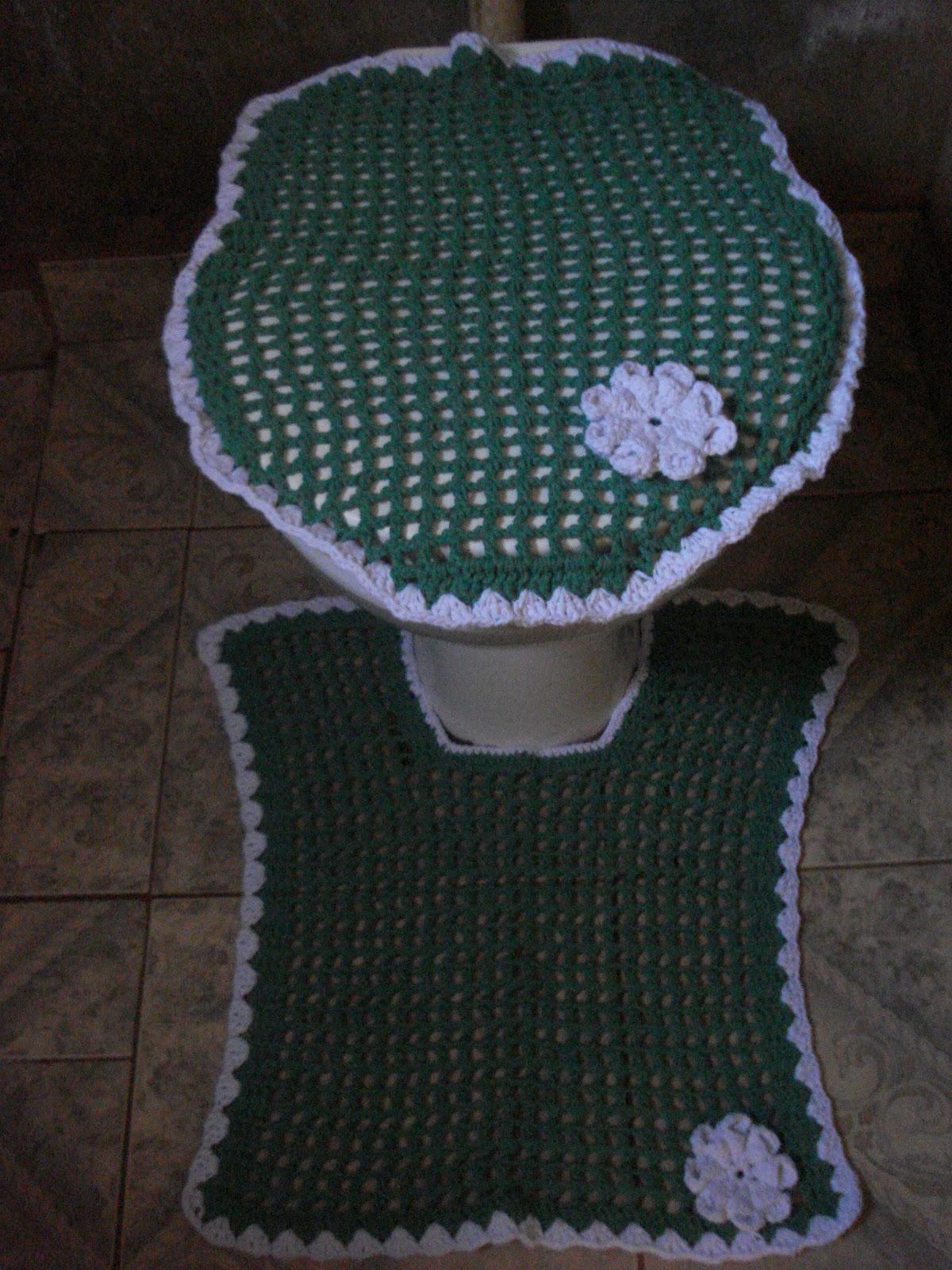Jogo De Banheiro Verde E Branco : Onyra croche jogo de banheiro com flor d?lia