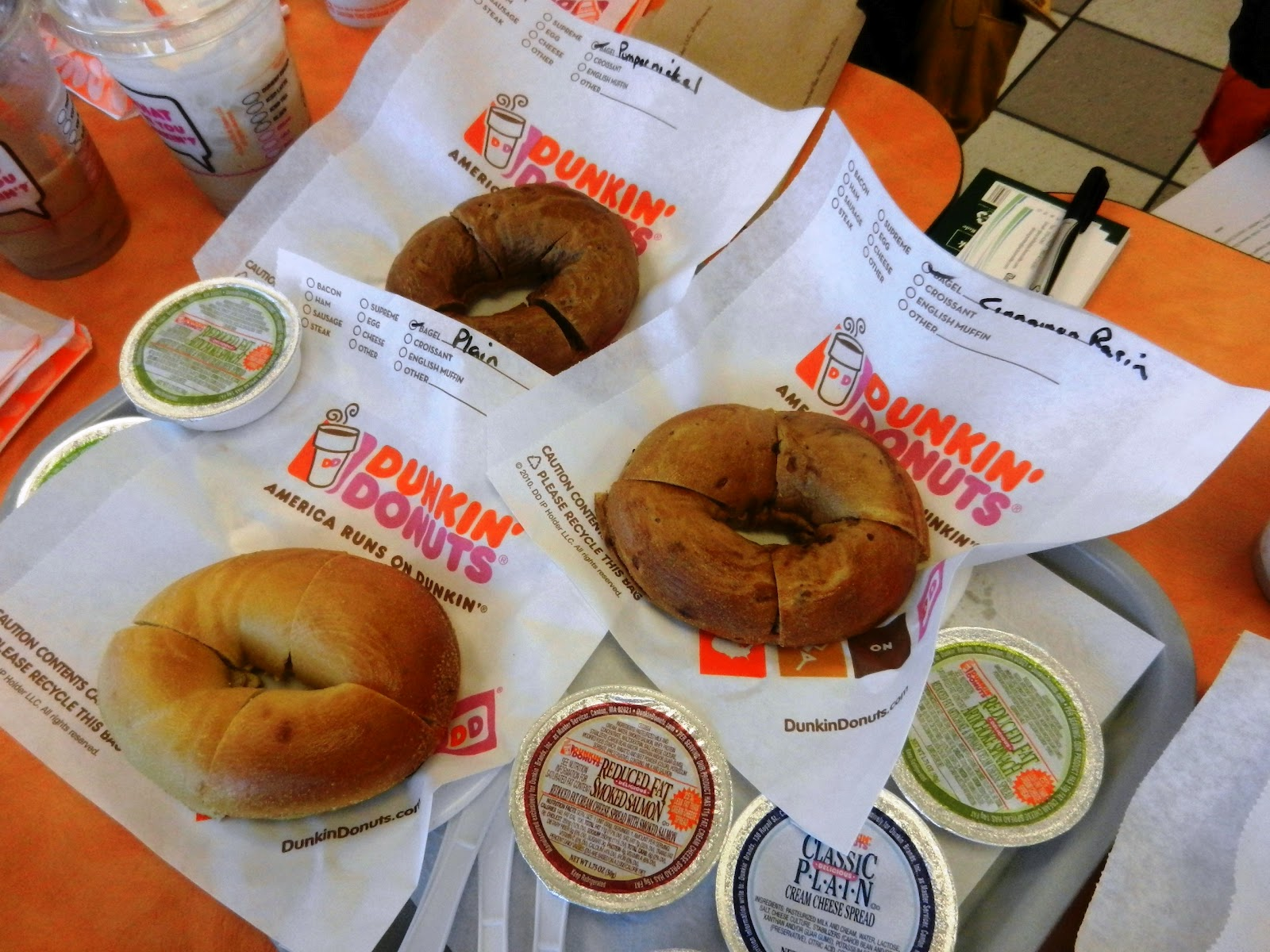 Bagel with cream cheese dunkin donuts