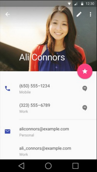 Android L Contact style