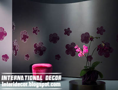 modern black wallpaper and wall coverings with pink floral patterns