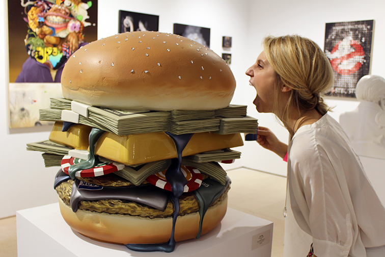 Money Burger by Joe King, mixed media sculpture, Miami Beach Art Basel