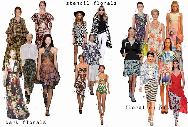 Dark florals, Stencil florals, floral pattern overlay,Michael Kors, Creatures of Comfort, Ralph Lauren, Suno, Clover Canyon