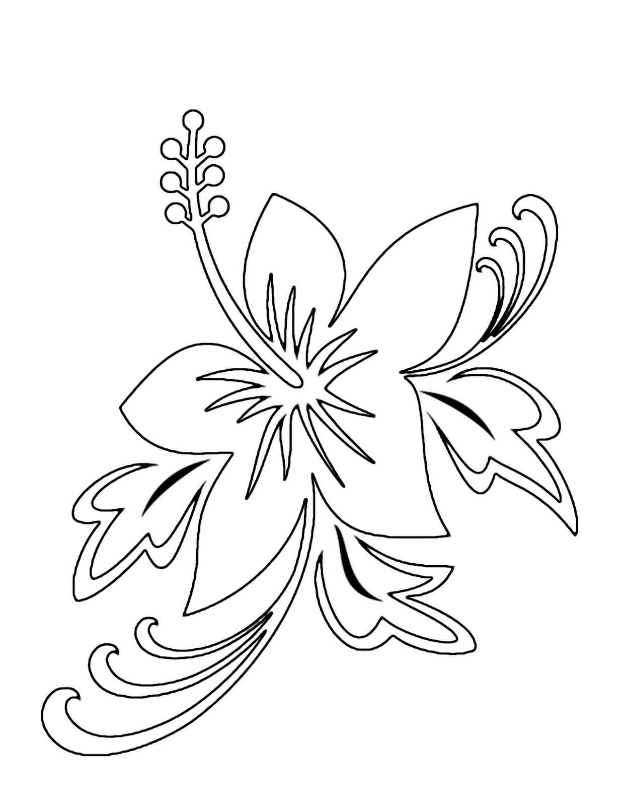 Coloring Pages Of Hibiscus Flowers : Hibiscus flower coloring pages pictures long hairstyles