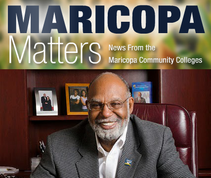 Maricopa Matters magazine title with photo of Chancellor Glasper
