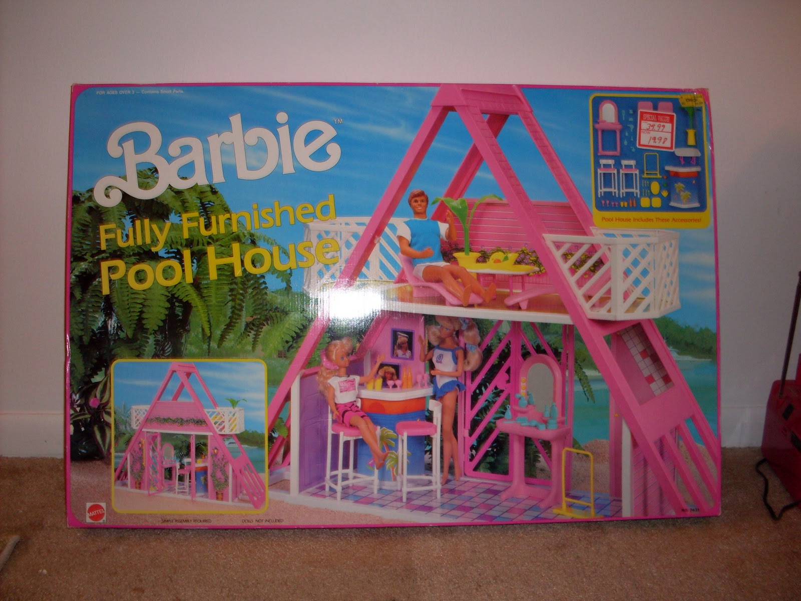 Mattel A Frame Beach House 1990 Pool AKA The Other Pink