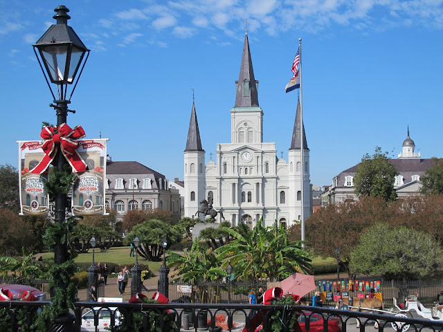 Jackson Square and St. Louis Cathedral in the French Quarter of New Orleans.