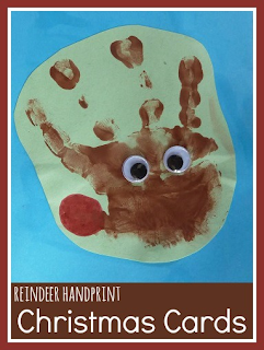 Simple reindeer handprint 圣诞 cards