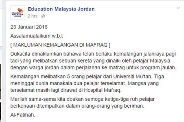 TAKZIAH! Pelajar Malaysia Maut Nahas Kemalangan Di Jordan