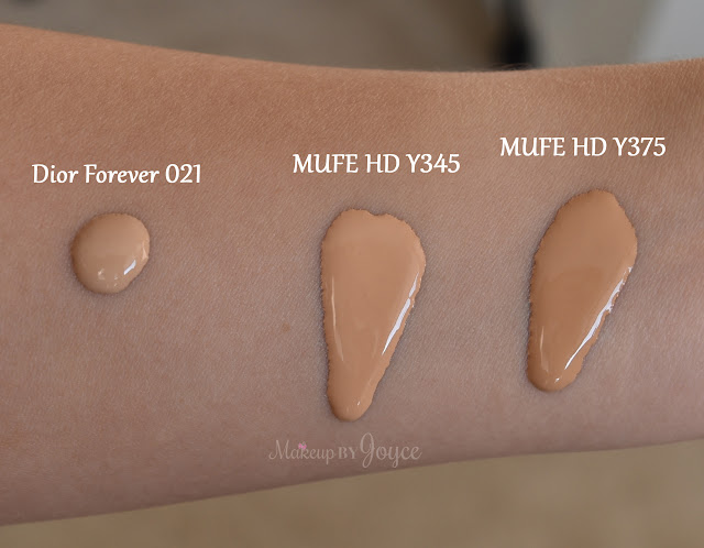 Make Up For Ever HD Foundation Y345 Y375 Swatch
