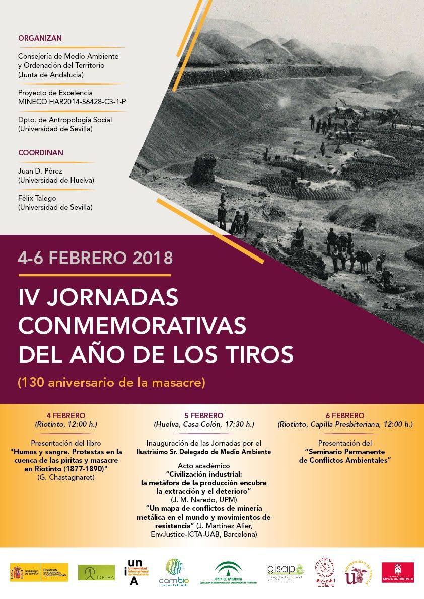 HUELVA: CONMEMORACIÓN DEL 130 ANIVERSARIO DEL AÑO DE LOS TIROS (de la masacre). IV JORNADAS.
