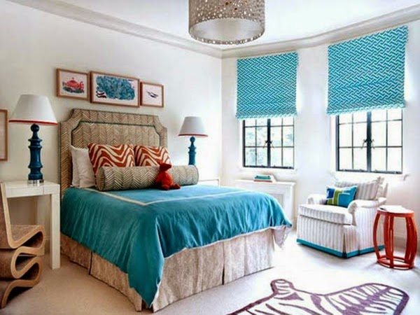 Merveilleux Turquoise Curtains Ideas In White Bedroom Interior