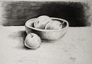Charcoal Drawing of Apples in Wooden Bowl