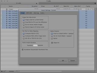Avid Import Settings for setting duration of a still image import.