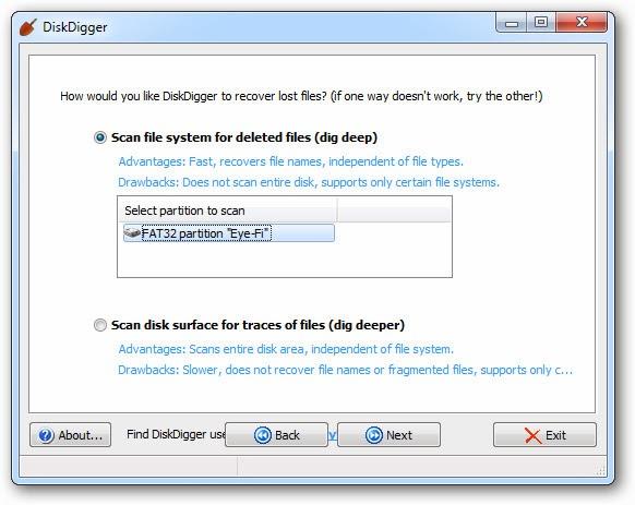 كيفية استخدام برنامج diskdigger