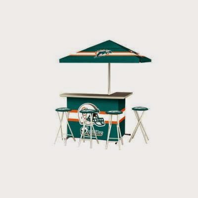 Best of Times Miami Dolphins NFL All-Weather Patio Bar Set with 6 ft. Umbrella