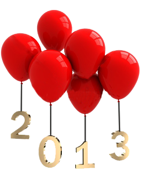 red balloons holding 2013