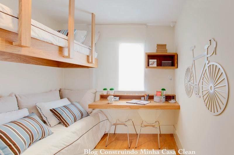 Construindo Minha Casa Clean 12 Quartos Fantásticos de  ~ Mesa De Estudo Para Quarto Moderno