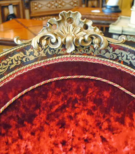 Charles Andre Boulle upholstered in silk velvet from the Napoleon III period