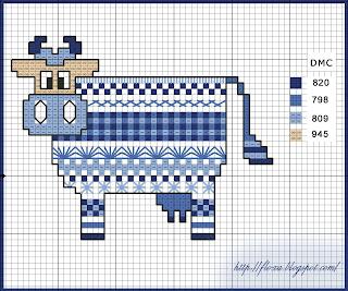 бесплатная схема для вышивки, схема корова, вышивка корова, авторская схема для вышивки, голубая корова, корова