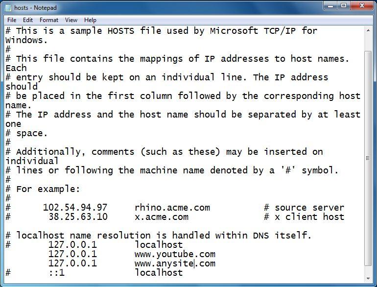 Hosts notepad site blocking