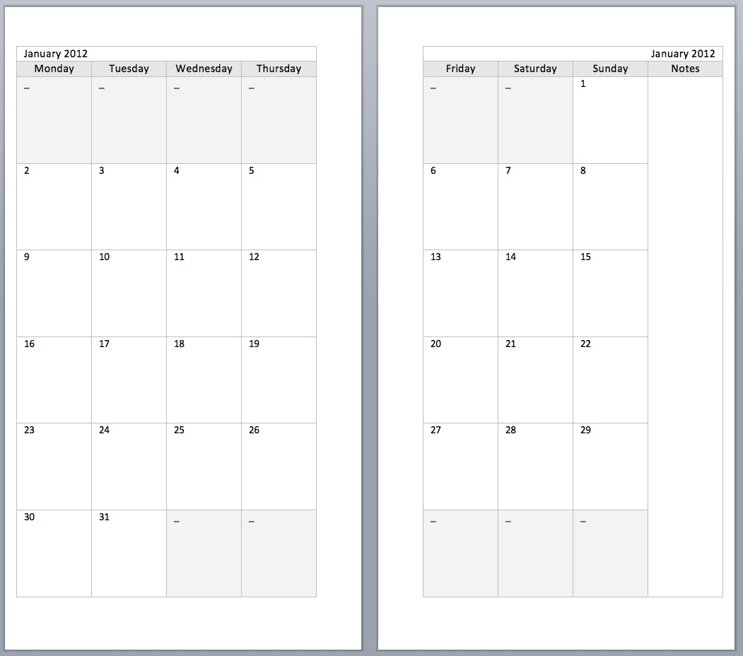 Two Page Per Month Calendar Template | Calendar Template 2016