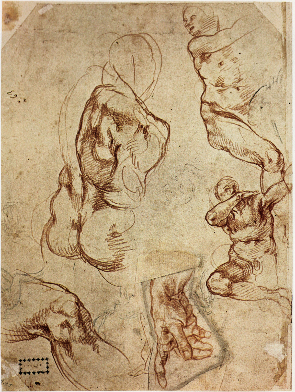 Man\'s head (Ignudo) and figure studies, Michelangelo Buonarroti ...