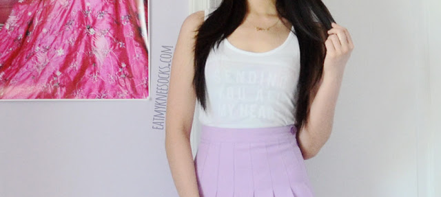 More photos of the white custom-print pastel-grunge tank top that I made with Snapmade.