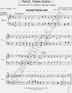 Partitura Fácil de Adeste Fideles para Pianistas Principiantes en Fa Mayor Venid Fieles Easy Sheet Music for beginners in F Carol Song - Villancico