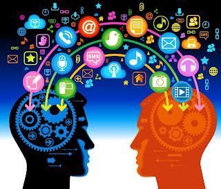 Redes sociais- Dois rostos interligados por diversas redes sociais e serviços como SMSs embora estejam próximos