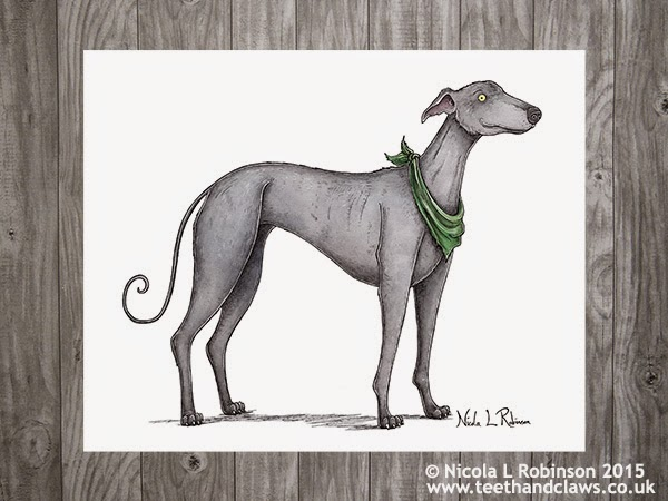 Greyhound Art © Nicola L Robinson 2015 All rights reserved www.teethandclaws.co.uk