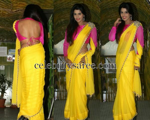 Maneesha Pillai Yellow Saree
