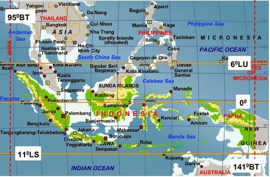 Gambar Peta Letak Geografis Indonesia Materi Ips Kelas Viii Smp