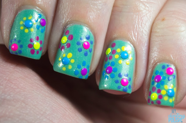 33 day challenge, nails, nail art, nail polish, sinful colors mint apple, studs, bornprettystore studs, dots, neon, hey darling polish!