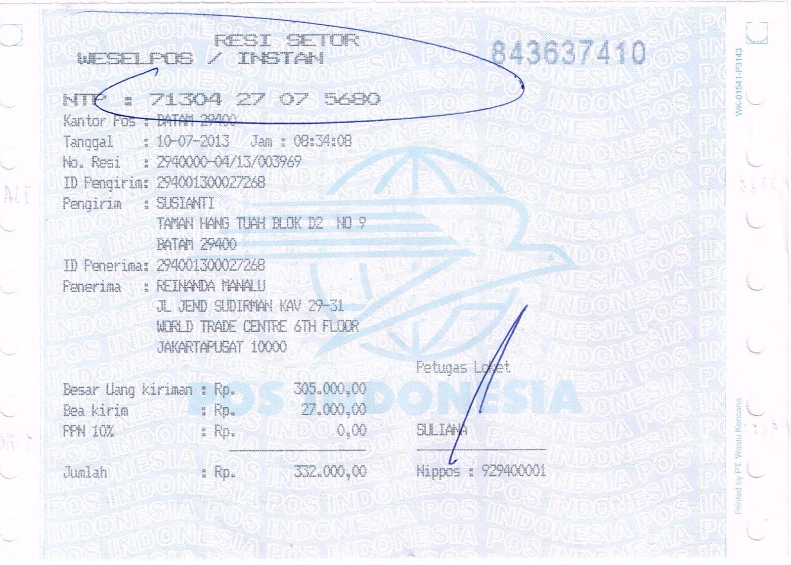 Contoh Surat Wesel Dalam Negeri Dari Pos Indonesia Www