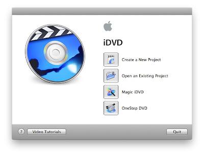 iDVD: startup screen