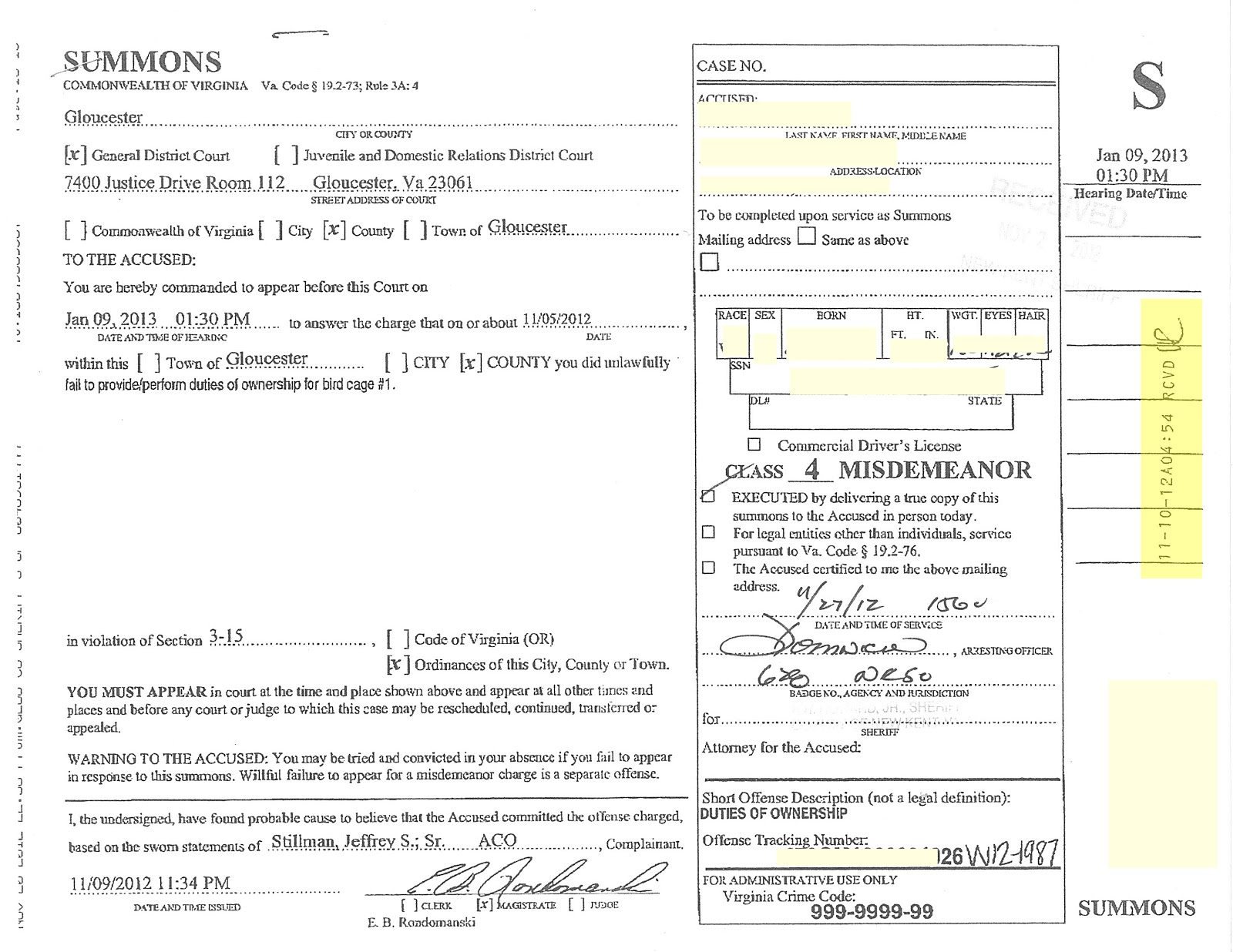 Gloucester, VA Animal Control Law 3 15 Update   Is This Even Legal?  Civil Summons Form