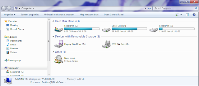 how to view hard drive space on windows 7