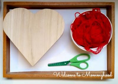 Valentine's Day Activities: Montessori inspired shelves {Welcome to Mommyhood} #montessori, #Valentine'sDayShelves