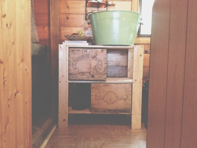 antique crates as drawers