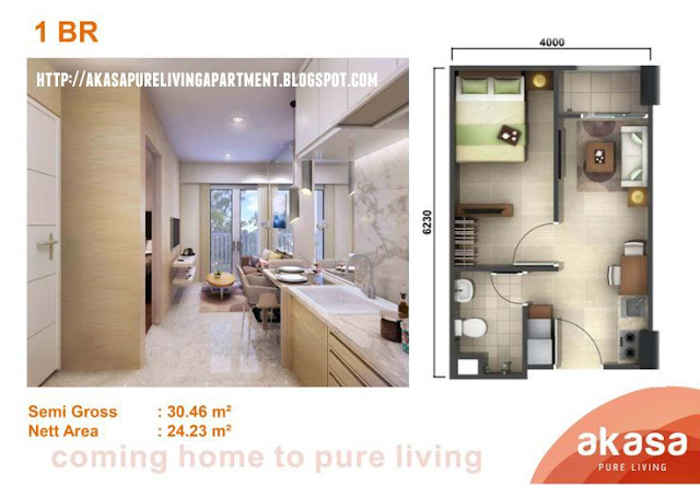 Tipe 1BR Akasa Pure Living Tower Kalyana