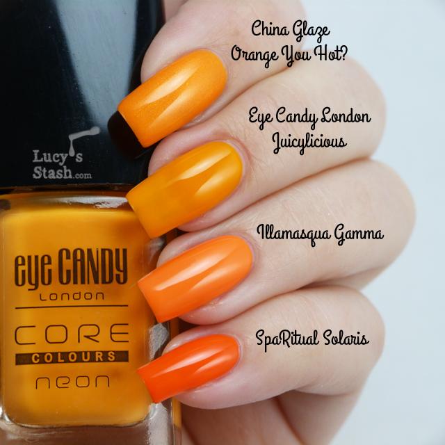 Lucy's Stash - Comparison of neon orange polishes
