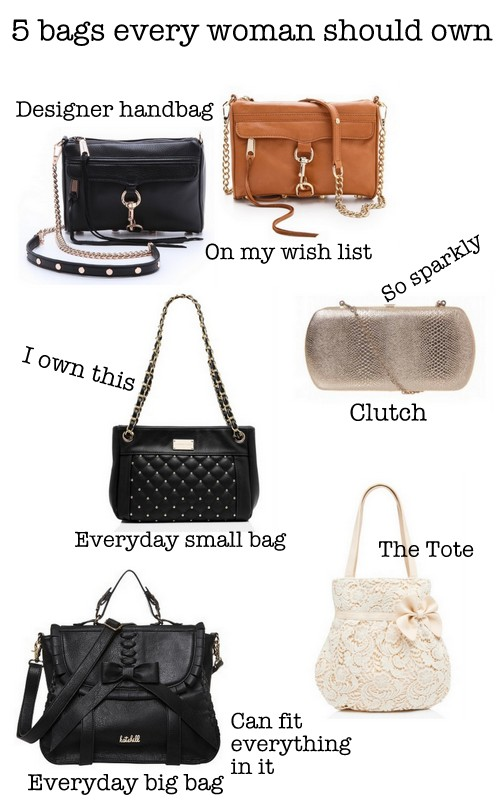 5 bags every woman should own: everyday big bag, everyday small part, tote, designer bag, clutch