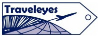 The Traveleyes logo, which is a white luggage tag with Traveleyes and an outline of an airplane in dark blue