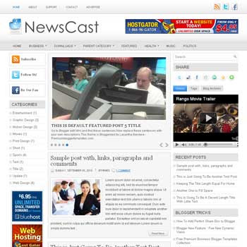 News Cast blog template. template image slider blog. magazine blogger template style. wordpress theme to blogger. template blog 3 column