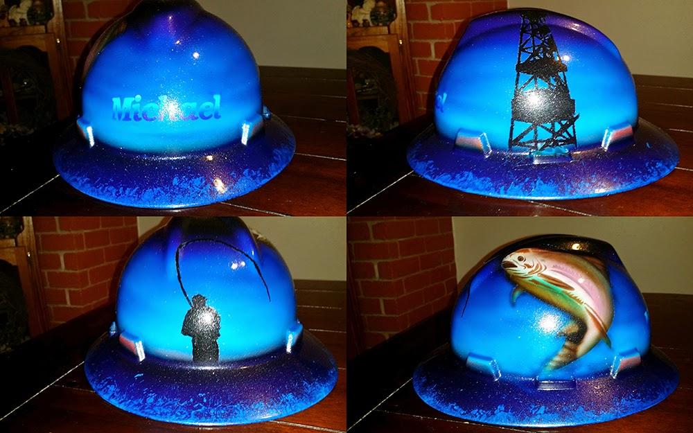 rainbow trout custom oilfield hard hat