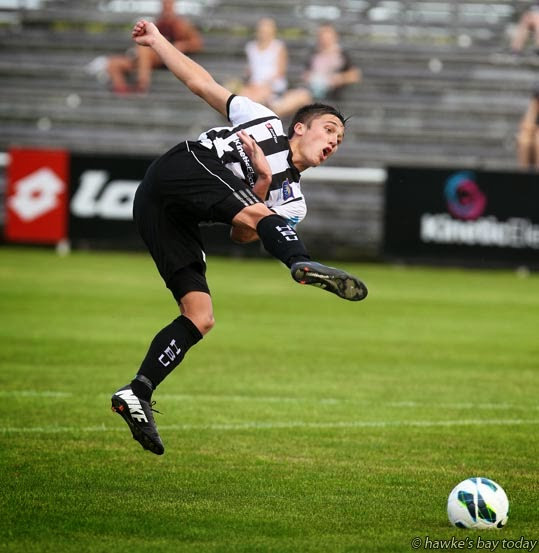 Tom Biss, Hawke's Bay United, scored his team's only goal in their 1-0 win against Canterbury United, soccer, football at Park Island, Napier photograph