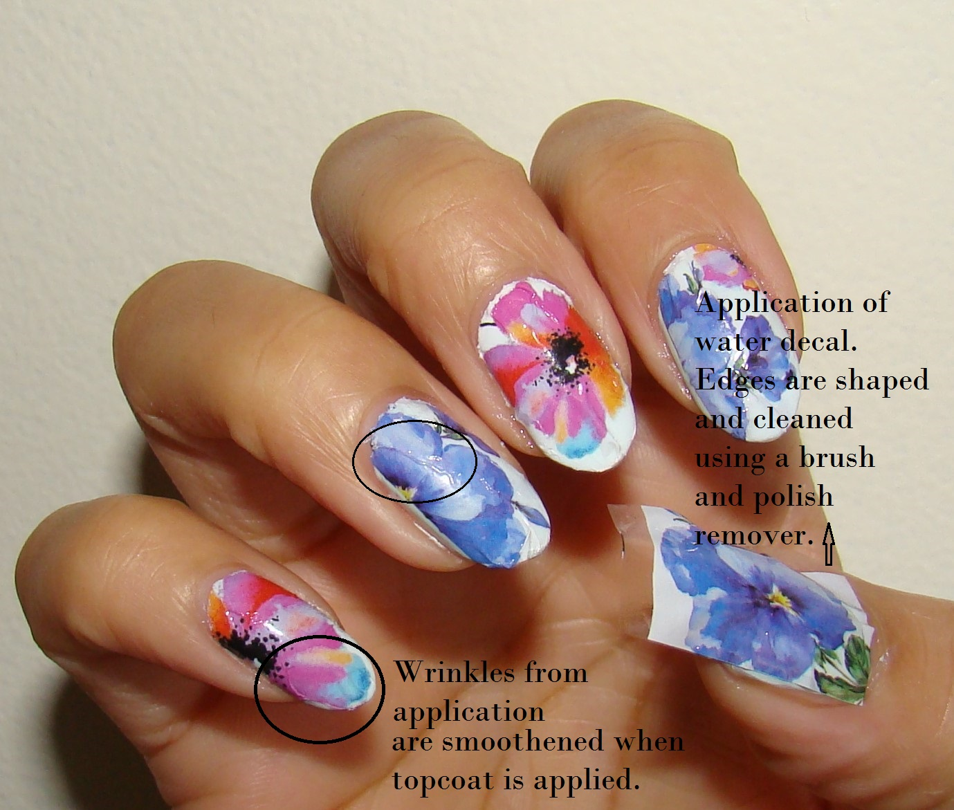 Pretty Nails and Tea: Easy Painted Flowers Nail Art   Water Decals ...